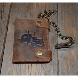 1796 A Truck kožená peněženka s ražbou a řetězem