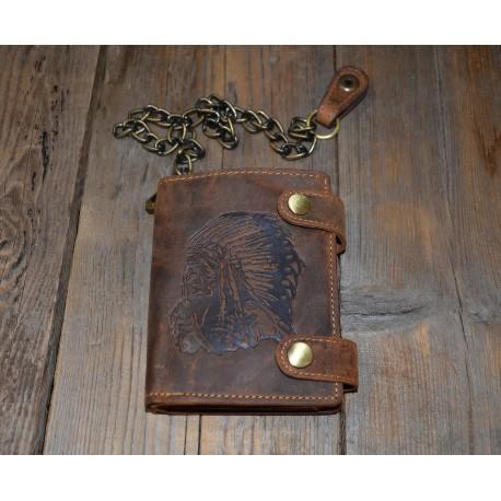 1796SK-25 Pánská kožená peněženka s řetězem a ražbou