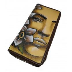 0004-40 Zipová kožená peněženka, malovaná